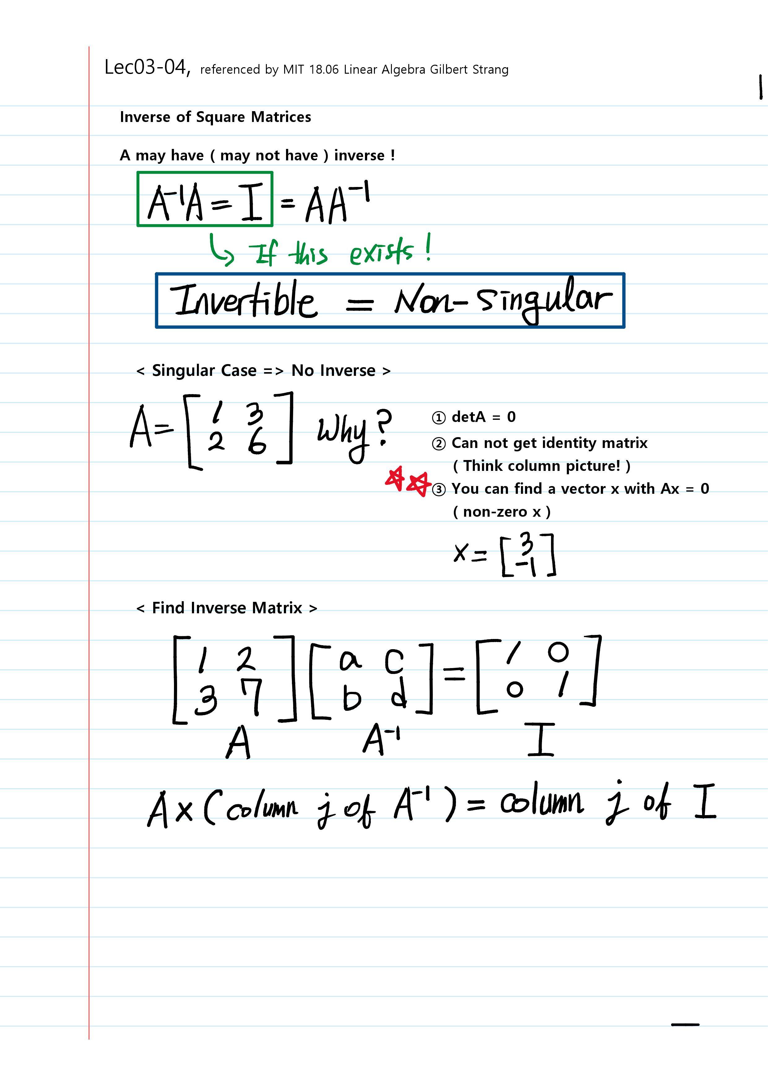 MIT 18 06 Linear Algebra – Basics (Lec01~Lec03) – Peter Kim's Blog